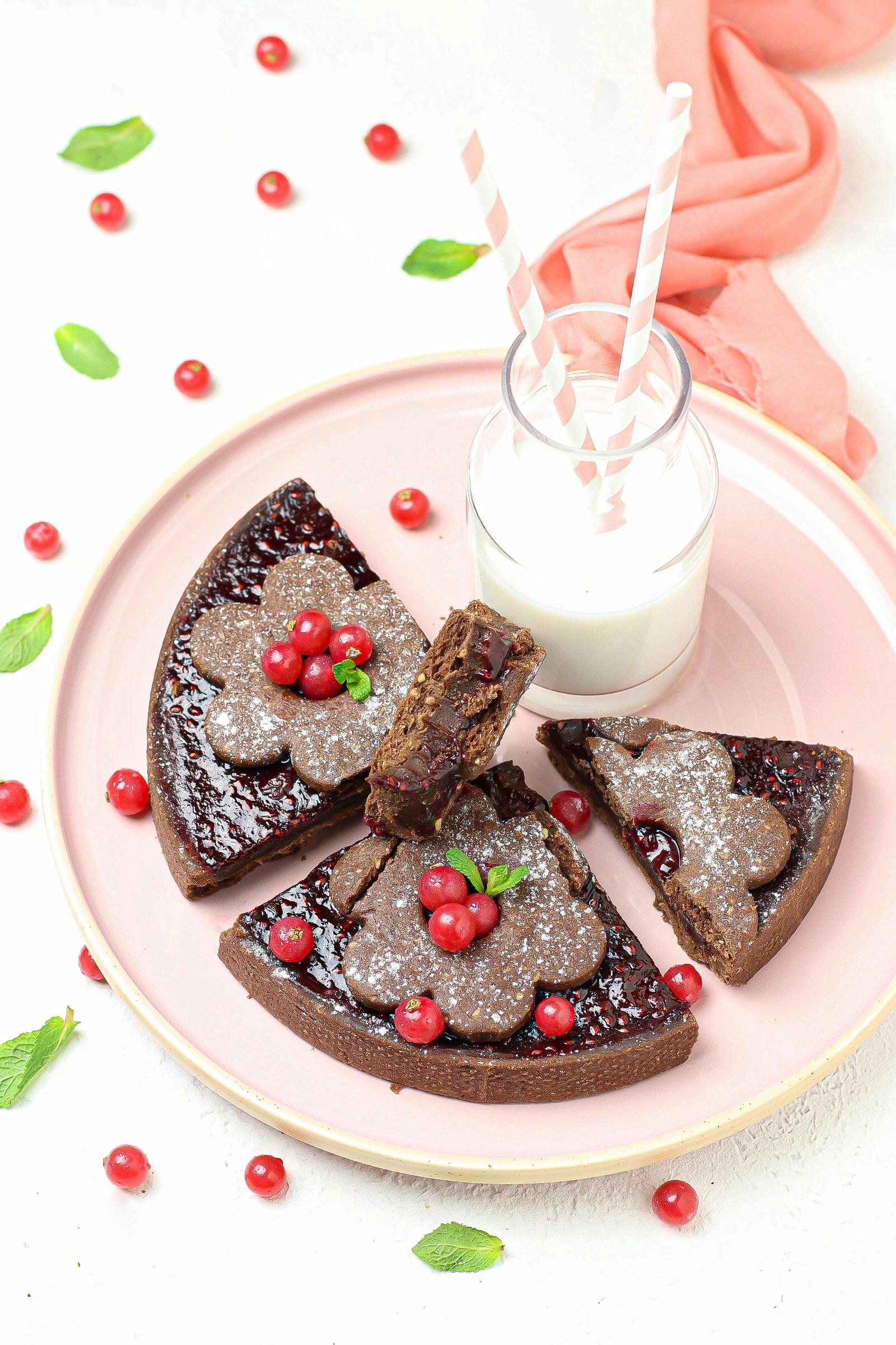 tarte cioccolato, croccante e composta di lamponi